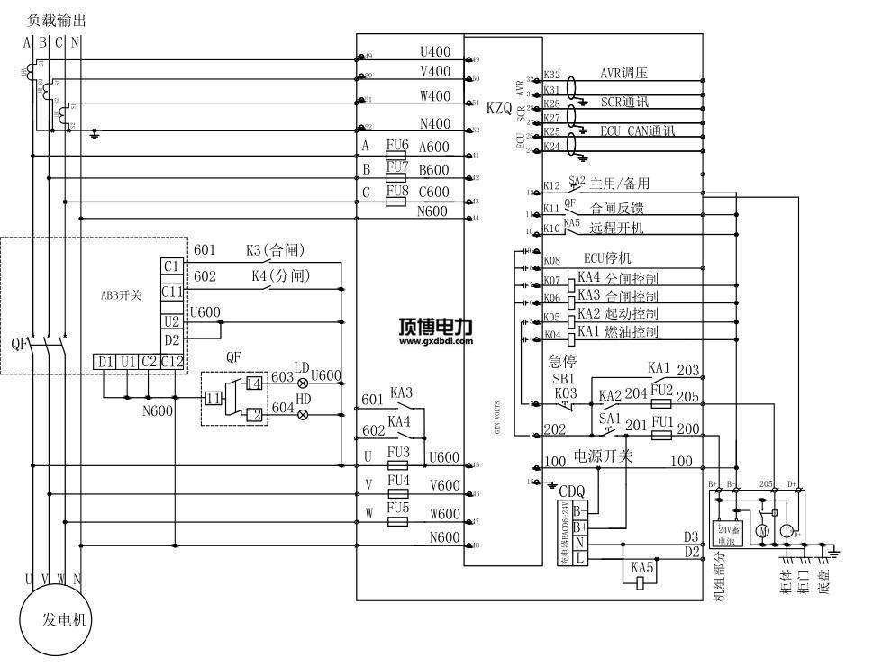 580KW柴油发电机并机柜线路电气图