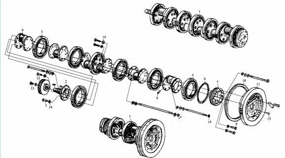康明斯柴油机曲轴飞轮组结构图